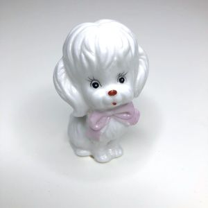 Vintage Accents - Vintage Bone China White Poodle Dog With Pink Bow
